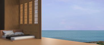 Bed Beach and Sea view - Modern / Peaceful luxury holiday in Asian / Day bed on wooden terrace stock photo