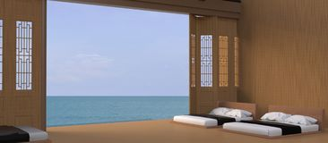 Bed Beach and Sea view - Modern / Peaceful luxury holiday in Asian / ,Summer , beach lounge, vector illustration