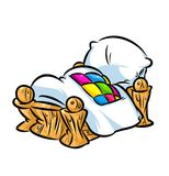 Bed bed blanket pillow cartoon illustration Royalty Free Stock Photography