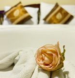 Bed In A Boutique Hotel With A Single Rose Royalty Free Stock Image