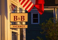 Bed and breakfast sign. With the american flag Stock Photos
