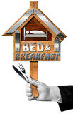Bed and Breakfast - Sign with Hand of a Concierge Stock Photos