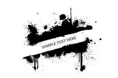Bed Bug Control Grunge Banner. Black splatters with crawling bed bugs, banner background Stock Photo