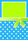 Bed Clothes Invitation Card with Bow and Dots Stock Photos