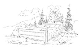 Bed in the countryside Royalty Free Stock Photography