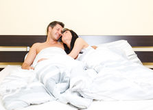 Bed couple together Royalty Free Stock Photo