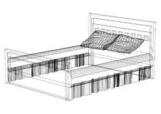 Bed 3D blueprint - isolated. Shoot of the Bed 3D blueprint - isolated Royalty Free Stock Photography