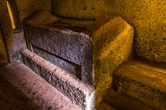 Bed for the dead - Etruscan necropolis royalty free stock photos