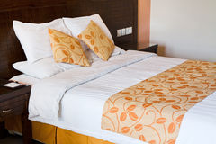Bed in double bed room Stock Image