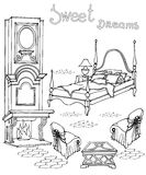 Bed fireplace sweet dreams. Set of vintage furniture for the ladies` bedroom with fireplace,  elegrnt bed with a sleigh, armchairs and text sweet dreams isolated Stock Photos