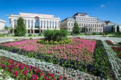 The bed of flowers at liberty square the city of Kazan. stock photo