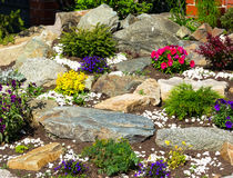 Bed flowers and stones. On a bed flowers and stones Royalty Free Stock Images