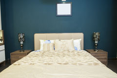 Bed in furniture show room Royalty Free Stock Photos