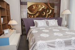 Bed in furniture show room Royalty Free Stock Images