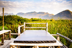bed in the garden and Landscape mountain with pond and Closeup of beautiful green sedge Royalty Free Stock Photo