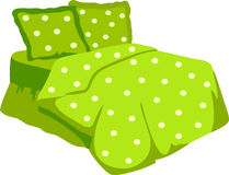 Bed With Green Blanket and pillow. Vector Illustration Royalty Free Stock Photography