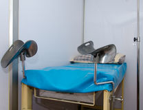 Bed for gynecologist cabinet Stock Photos
