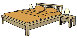 Bed. Hand drawing of a double bed Royalty Free Stock Photos