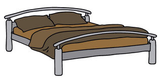 Bed. Hand drawing of a double bed Royalty Free Stock Image