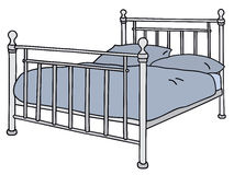 Bed. Hand drawing of a metal double bed Royalty Free Stock Photo