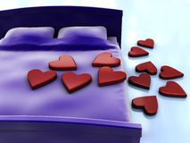 Bed and hearts Royalty Free Stock Photography