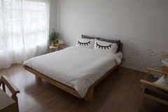 Bed at home bedroom. Interior of white and bedroom Stock Photos