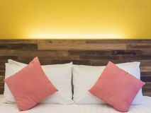 Bed in a hotel or resort room at night Stock Images