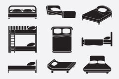 Bed icons set Royalty Free Stock Images