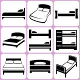 Bed Icons Set Stock Photography