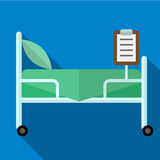 Bed in illustratie van het het ziekenhuis de vlakke pictogram vector illustratie