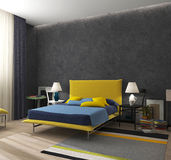 Bed in the interior Stock Photography