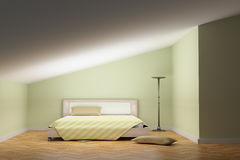 Bed and lamp Stock Images