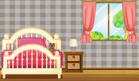 A bed and a lamp. Illustration of a bed and a lamp in a room Royalty Free Stock Photo