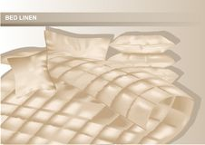 Bed and linen. Bed with some pillowsand cover Royalty Free Stock Photos