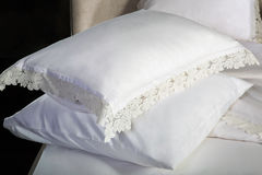 Bed linen and two pillows Stock Images