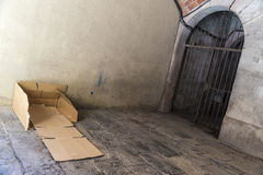 Bed made of cartons of a homeless man Royalty Free Stock Photo