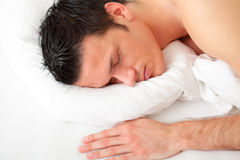 Bed man Royalty Free Stock Photos