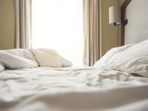Bed Mattress and Pillows Mess up Bedroom in the morning Stock Image