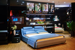 Bed mattress shop trendy bedroom. Interior of modern home furniture store, in China ,Asia Royalty Free Stock Image