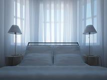Bed med nattduksbord, lampor och en tulle royaltyfri illustrationer