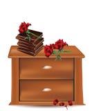 Bed met boeken en rozen Stock Foto