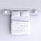Bed met hoofdkussens en een deken in de hoekruimte, 3d illustratie Stock Foto's