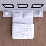 Bed met hoofdkussens en een deken in de hoekruimte, 3d illustratie Royalty-vrije Stock Afbeeldingen