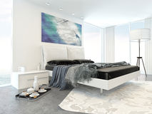 Bed in Modern White Bedroom in Apartment Stock Photos