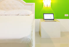 The bed in my room for decorate project on background. Royalty Free Stock Photo