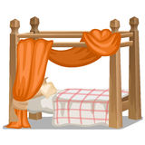 Bed with orange canopy. Interior items  Royalty Free Stock Photos