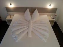 Bed origami. Design arts hotel inspiration indoor-arts creativity extravagance originality Royalty Free Stock Image