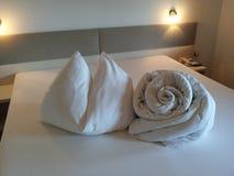 Bed origami. Design arts hotel inspiration indoor-arts creativity extravagance originality Stock Photos