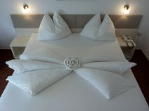 Bed origami. Design arts hotel inspiration indoor-arts creativity extravagance originality Stock Photo