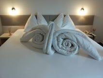 Bed origami. Design arts hotel inspiration indoor-arts creativity extravagance originality Royalty Free Stock Images